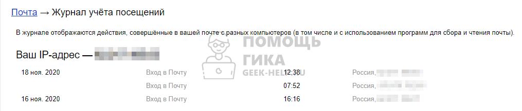 Что такое журнал учета посещений в Яндекс Почте