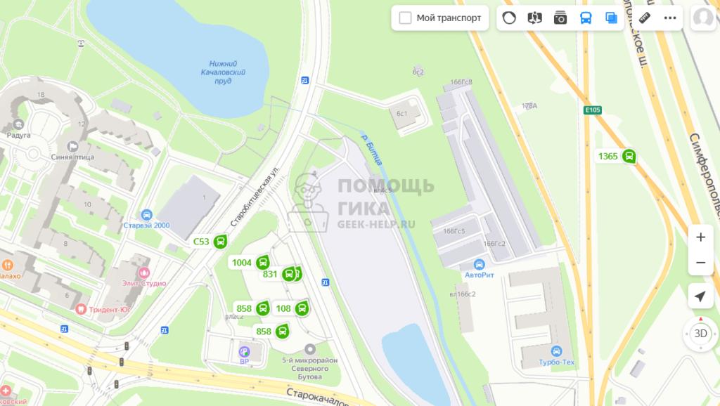 Как в Яндекс Картах посмотреть онлайн движение транспорта на компьютере - шаг 2