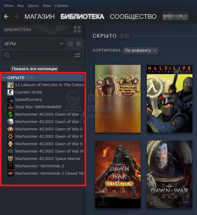 как показать все скрытые игры в Steam - шаг 2