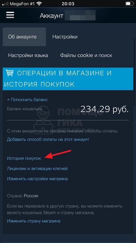 Как в Steam посмотреть историю покупок с телефона - шаг 3