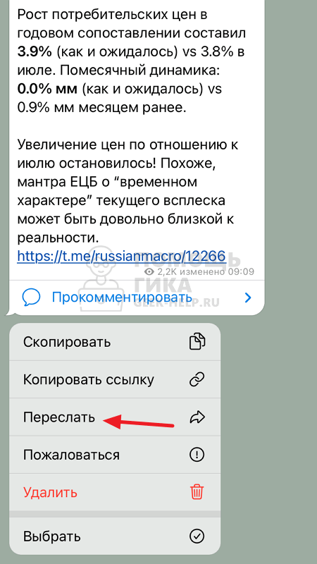 Как переслать сообщение самому себе в Телеграмм на iphone - шаг 1
