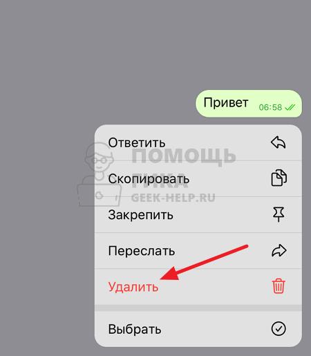 Как удалить сообщение в чате Телеграмм на телефоне - шаг 2