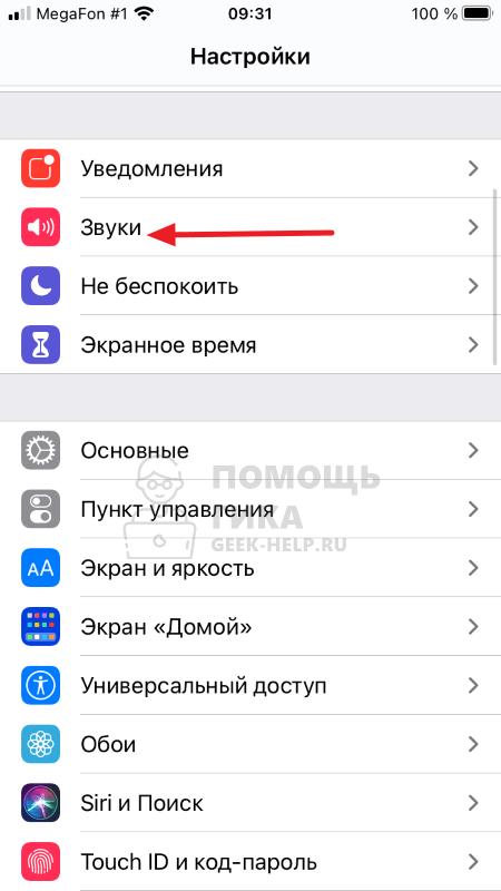 Как сделать тише звук будильника на iPhone в настройках - шаг 1